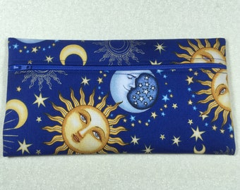 Celestial sun and moon pencil bag, sun and moon travel bag, celestial cosmetic bag