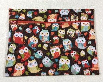 Owl cosmetic bag, tiny owls pencil bag, tiny owls travel bag