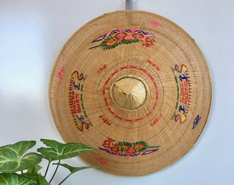 Pretty Woven & Embroidered Vietnamese Rice Paddy Hat, Bohemian, Jungalow Decor