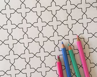Printable Islamic Colouring Page with Geometric Design #11