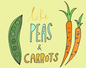 "Greeting card ""Peas and Carrots"" Veggie card"