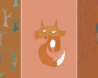 """Greeting Card Three Pack """"Fox and Friends"""""""