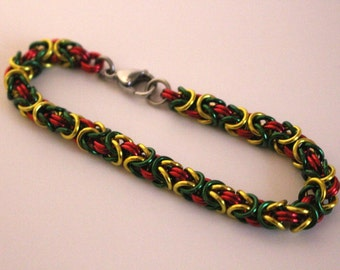 Byzantine Chainmaille Bracelet   Hand Crafted Chainmaille Jewelry   Handmade Bracelet   Red, Green, and Yellow   Anodized Aluminum