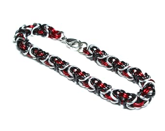 Byzantine Chainmaille Bracelet   Hand Crafted Chainmaille Jewelry   Handmade Bracelet   Red, Black, and Silver   Anodized Aluminum