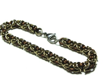 Byzantine Chainmaille Bracelet   Hand Crafted Chainmaille Jewelry   Handmade Bracelet   Brown and Light Brown   Anodized Aluminum