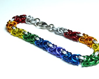 Byzantine Chainmaille Bracelet   Hand Crafted Chainmaille Jewelry   Handmade Bracelet   Rainbow and White   Anodized Aluminum