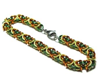 Byzantine Chainmaille Bracelet   Hand Crafted Chainmaille Jewelry   Handmade Bracelet   Green, Yellow, and Orange   Anodized Aluminum