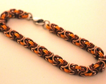 Byzantine Chainmaille Bracelet   Hand Crafted Chainmaille Jewelry   Handmade Bracelet   Orange, Brown, and Champagne   Anodized Aluminum