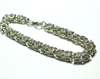 Sterling Silver Byzantine Chainmaille Bracelet   Hand Crafted Chainmaille Jewelry   Handmade Bracelet