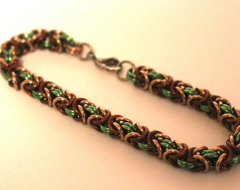 Byzantine Chainmaille Bracelet   Hand Crafted Chainmaille Jewelry   Handmade Bracelet   Green, Brown, and Champagne   Anodized Aluminum