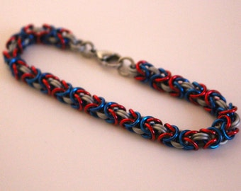 Byzantine Chainmaille Bracelet   Hand Crafted Chainmaille Jewelry   Handmade Bracelet   Red, White, and Blue   Anodized Aluminum