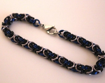 Byzantine Chainmaille Bracelet   Hand Crafted Chainmaille Jewelry   Handmade Bracelet   Blue, Black, and Gun Metal   Anodized Aluminum