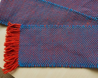 Table runner, blue, dark blue, red, 141 cm (55.5 in) long, 15.5 cm (6.1 in) cotton, hand woven