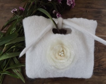 Gorgeous, White, Wedding, Bridal, Bridesmaid, Hand Felted Bag with Flower Corsage Embellishment, Beading and self tie.