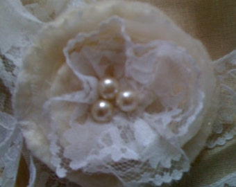 Hand felted corsage/brooch with lace and pearly beading - shoe clips also available - Made to Order
