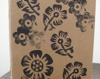 Gardeners record book, Block Printed note book/ sketch book which features flowers - A6 Plain Paper, Eco -friendly