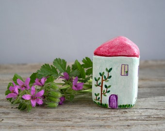 Tiny cottage, miniature house, little clay house, hand painted, rustic, tiny home decor, housewarming gift, small house, one of a kind