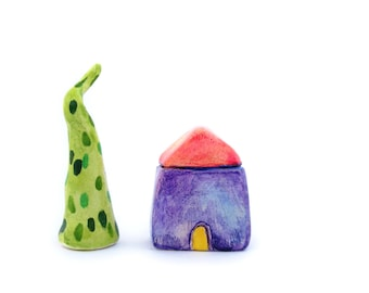 Tiny home, miniature clay house, colorful home decor, minimalist decor, purple blue quirky house, display decor, first home gift, under 15