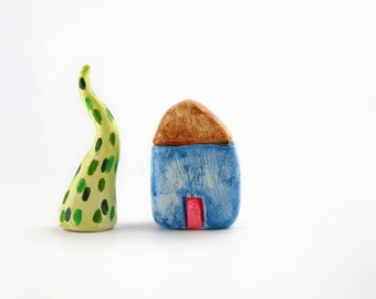 Little blue clay house, miniature clay house, colorful home decor, minimal display decor, miniature collection