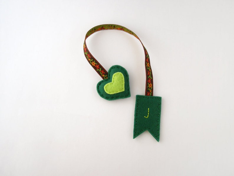 Personalized embroidered bookmark from felt initial bookmark image 0