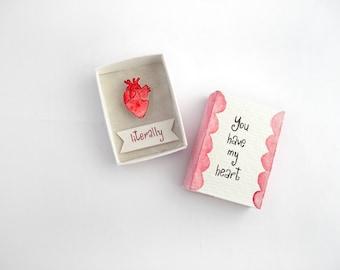 Anatomical heart art, matchbox art, boyfriend gift, girlfriend gift, matchbox card, you have my heart, anniversary gift, love card