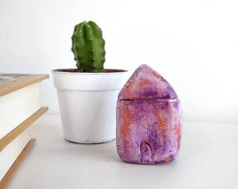 Miniature house, little clay house, purple terracotta textured home, shabby chic home decor, house warming gift, paper weight