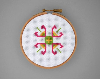Cross stitch hoop, flowers cross stitch, embroidery hoop, shelf decor, traditional ethnic folk art, wall decor, hostess gift under 25