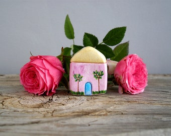 Little clay house, hand painted miniature house, tiny cottage, shelf decor, rustic home decor, housewarming gift, small house, one of a kind