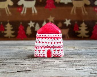 Nordic Christmas, scandinavian Christmas decor, miniature clay house, minimal Christmas, tiny house, small clay house, scandinavian xmas