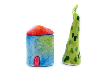 Miniature clay house, colorful home decor, little blue and green house, minimalist decoration, quirky house, display decor, first home gift