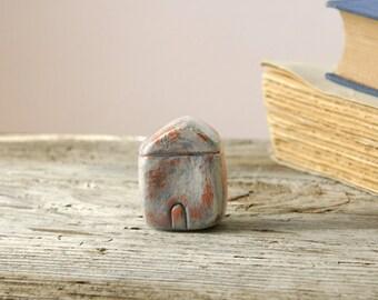 Little clay house sculpture, rustic home decor, miniature terracotta house, minimalist decor, tiny home figurine, housewarming gift under 20