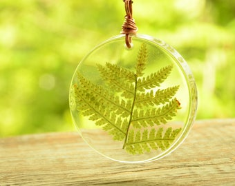 resin terrarium pendant with copper, fern necklace, gift for wife, nature woodland jewelry, summer outdoors, boho pendant, gift for daughter