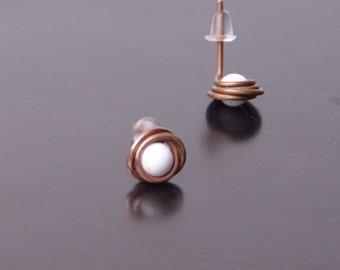 white earrings bridesmaid jewelry boho stud earrings gift for her minimal earrings wire wrap gift women copper studs fashion jewelry white