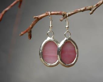 pink dangle earrings, gift women, everyday glass earrings, bohemian jewelry, romantic earrings