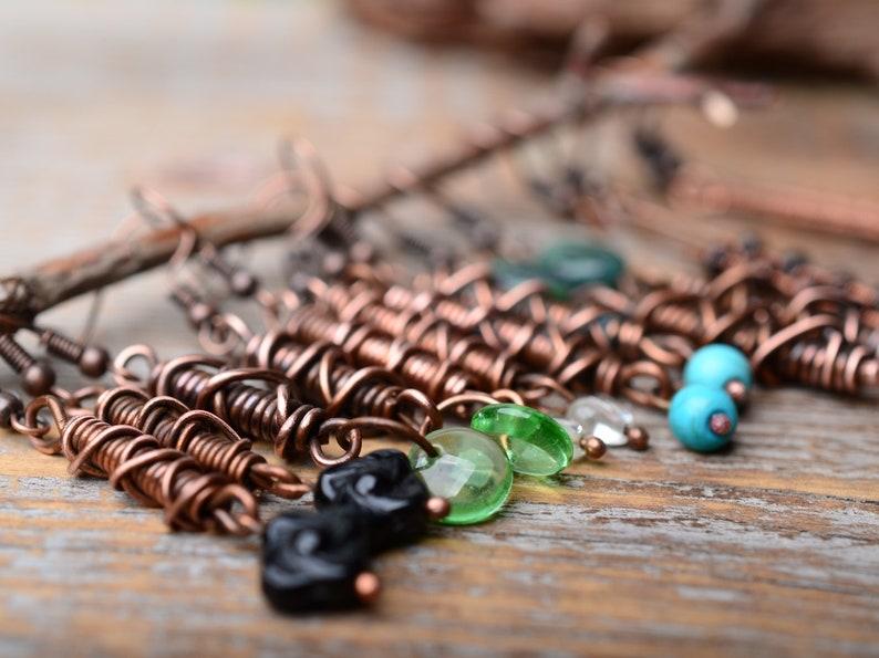 copper earrings cluster earrings gift for her copper wire wrap folk happy jewelry
