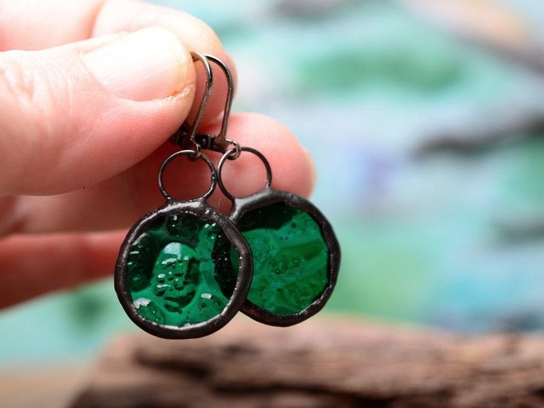 green earrings minimal glass earrings mom gifts boho jewelry womens gift