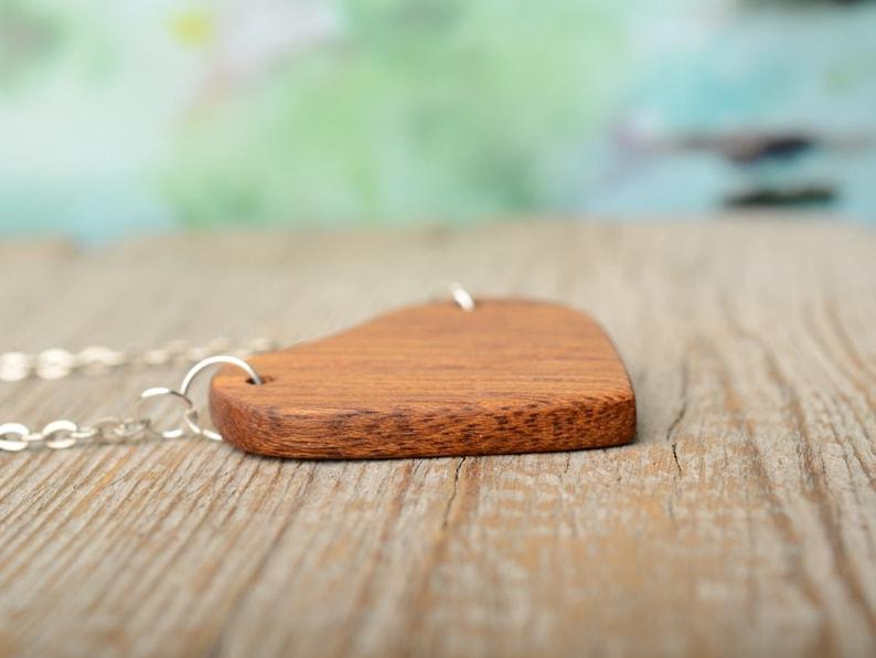 fifth anniversary Organic jewelry Minimal pendant gift from boyfriend Wood heart necklace