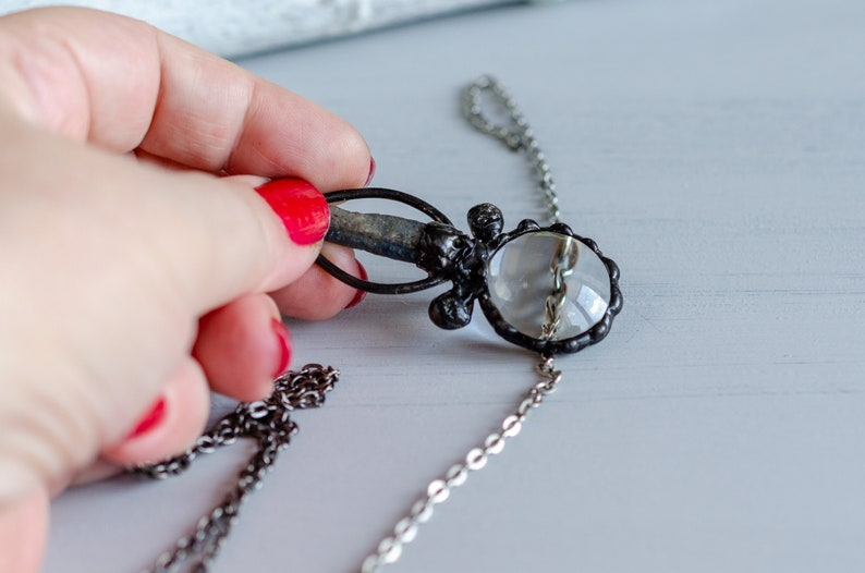 fashion crystal jewelry glass loupe necklace magnifying pendant retro magnifier necklace with kyanite