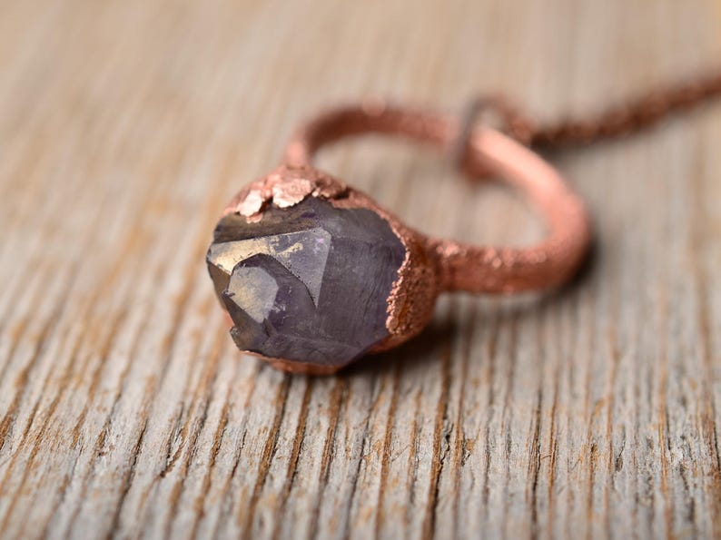 rough amethyst necklace february birthstone copper raw crystal jewelry women gift for mom