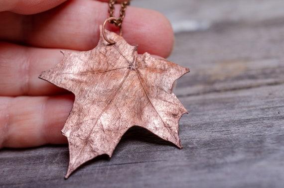 Silver Pendant Gum Leaf Leaf Pendant Copper Jewelry Gum Leaf Pendant Sterling Silver Fold Formed Copper Pendant Hammered Copper