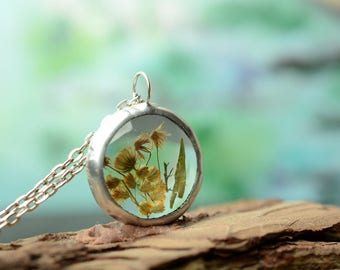 floral design necklace, botanical jewelry, sweet gifts for her, real plant necklace, gift sister, nature inspired