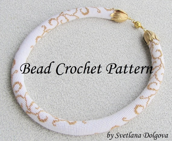 Pattern For Bead Crochet Necklace Gold Etsy