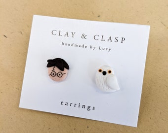 Harry P and Hedwig earrings - beautiful handmade polymer clay jewellery by Clay & Clasp