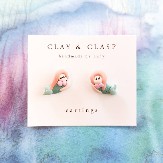 Mermaid earrings - beautiful handmade polymer clay jewellery by Clay & Clasp