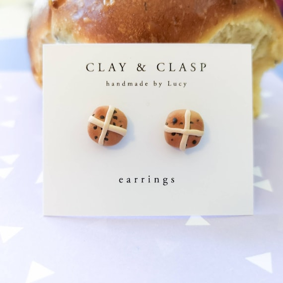 Hot Cross Bun Easter earrings, studs - beautiful handmade polymer clay jewellery by Clay & Clasp