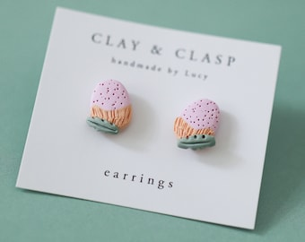 Banksia Earrings - beautiful handmade polymer clay jewellery by Clay & Clasp