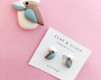Kookaburra earrings - beautiful handmade polymer clay jewellery by Clay & Clasp