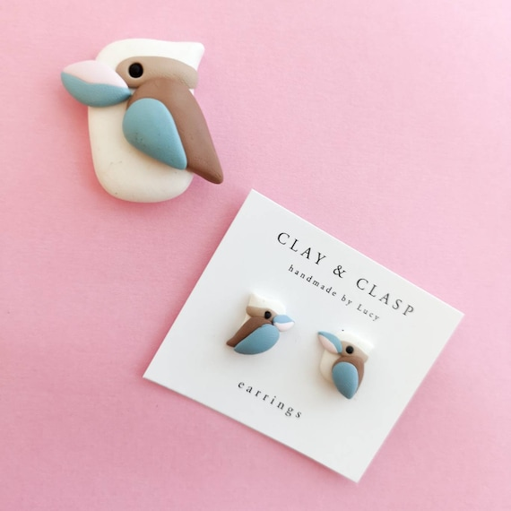 Kookaburra earrings - beautiful handmade polymer clay jewellery by Clay & Clasp