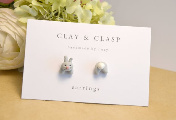 Grey bunny rabbit mismatch head and tail earrings