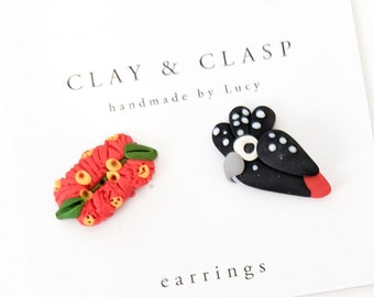 Black Cockatoo and bottle brush earrings - beautiful handmade polymer clay jewellery by Clay & Clasp